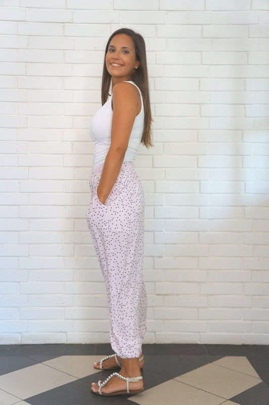 The Easy Trousers - Pink with Black Mini Stars