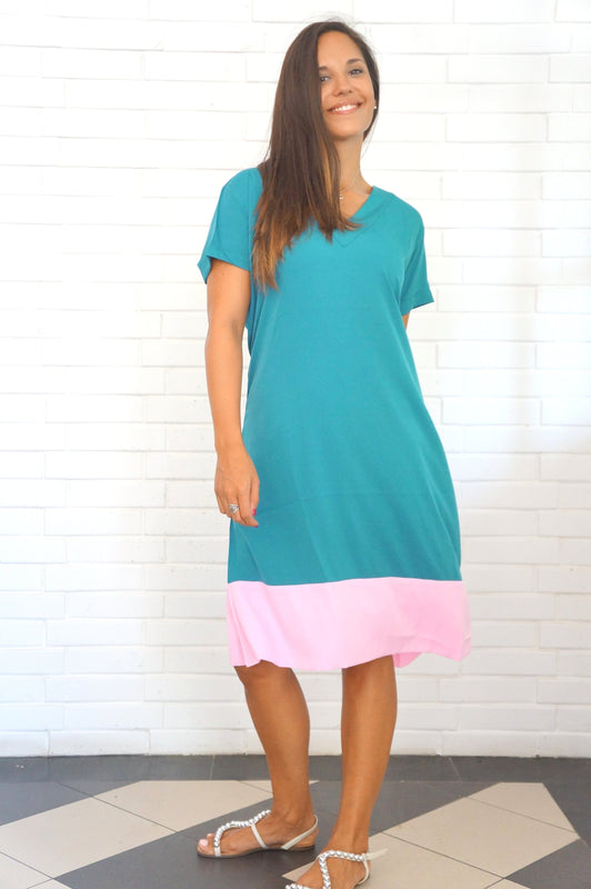 The Anywhere Dress - Dark Turquoise & Ice Pink colour block