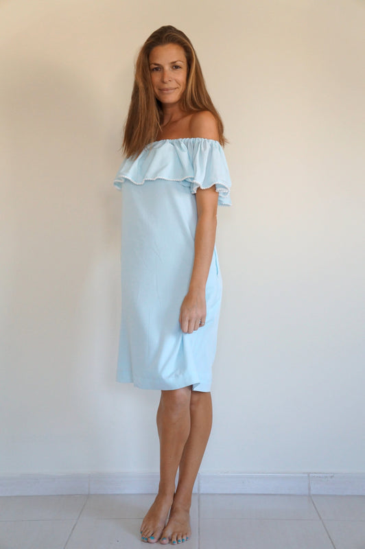 Ruffle 'Bardot Syle' Dress - Sky blue