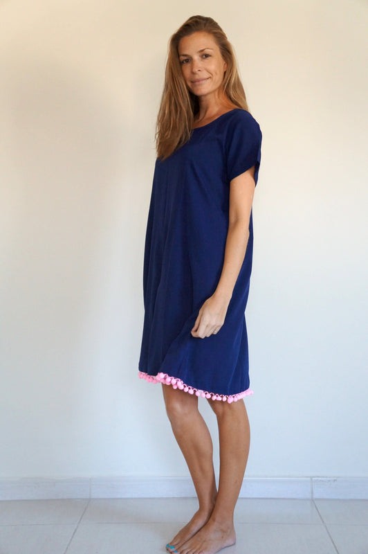 The Anywhere Dress - Navy Blue with ice pink pom-poms