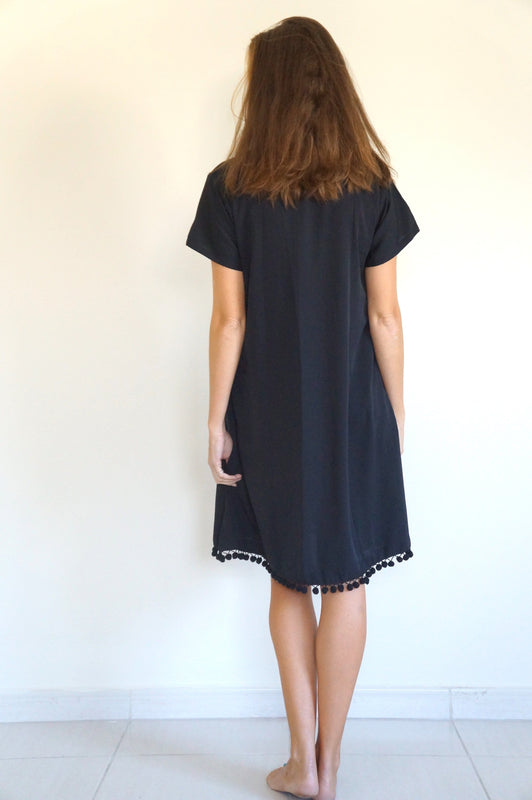 The Anywhere Dress - Black with black pom-poms