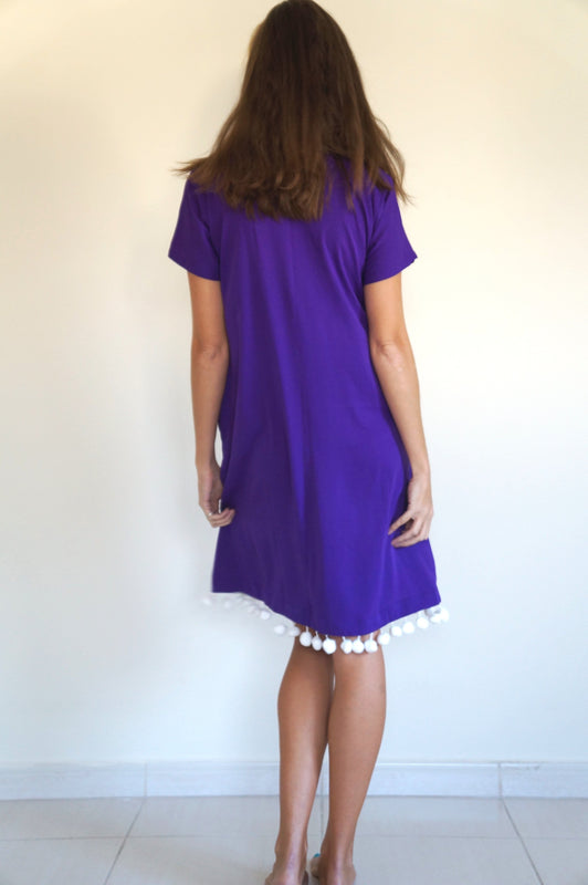 The Anywhere Dress - Royal Purple with giant white pom-poms