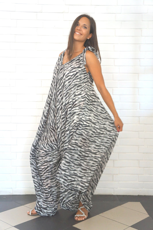 The Harem Jumpsuit - Black & White Animal
