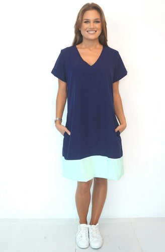 The Anywhere Dress - Perfect Navy with Aqua Colour Block