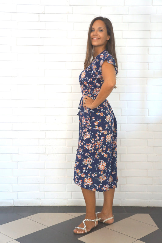 The Wrap dress - Navy, Mini Colour Floral - Midi