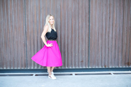 The Rosie Midi Skirt - Hot Pink with Leopard Waist Band