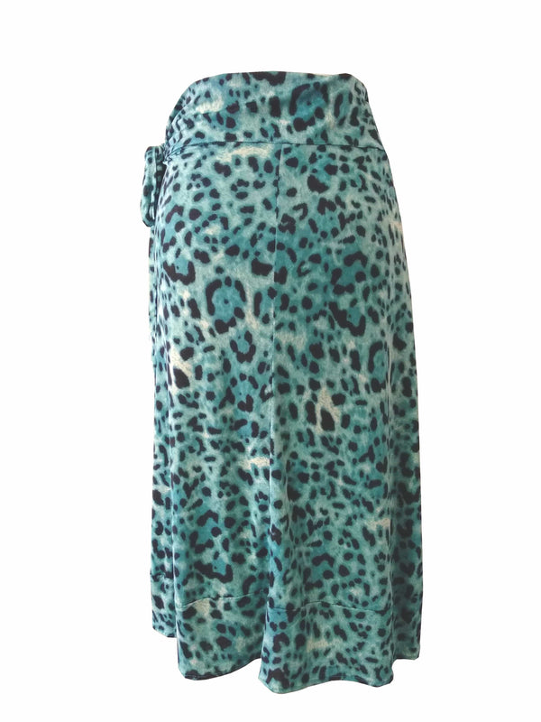 The Ruffle Wrap Skirt - Turquoise, Black Animal Stretch