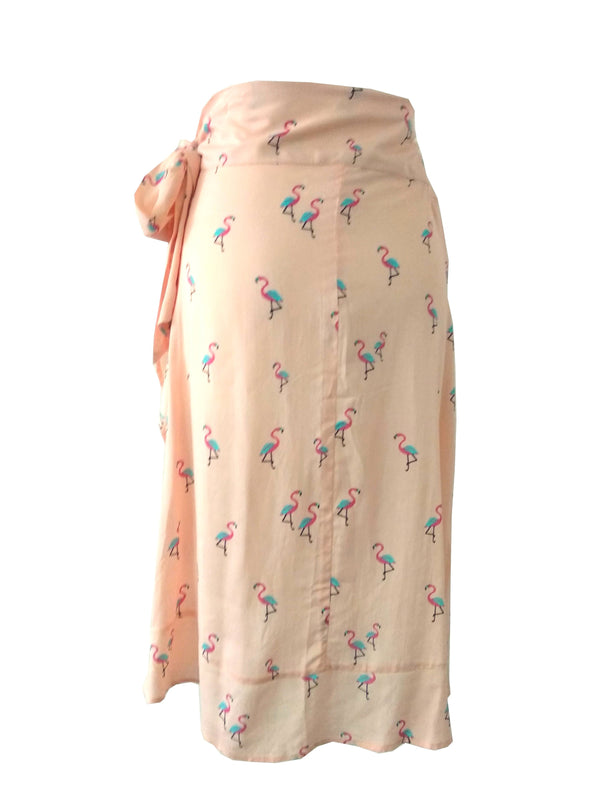 The Ruffle Wrap Skirt - Peach Flamingo