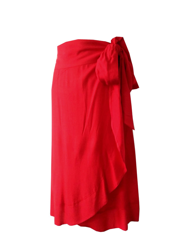 The Ruffle Wrap Skirt - Red Rayon
