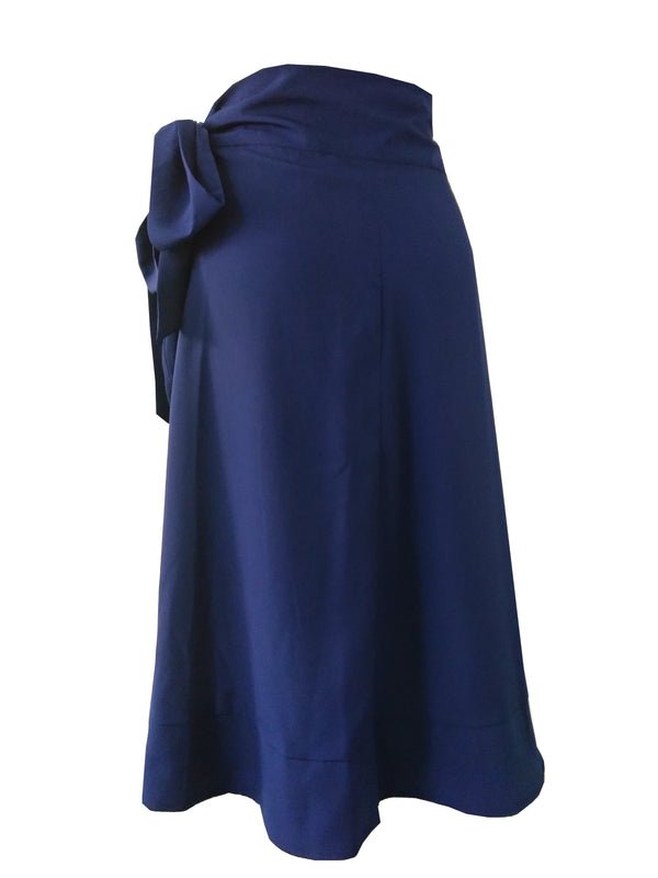 The Ruffle Wrap Skirt - Navy Blue Crepe