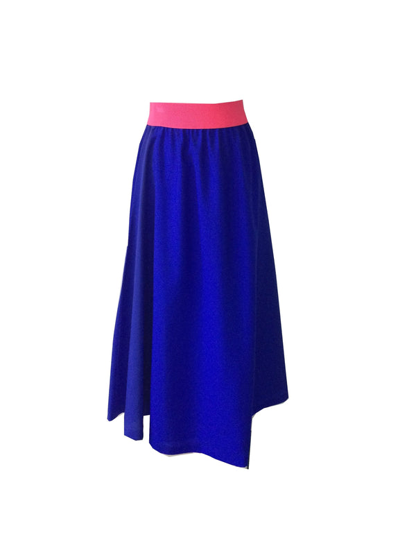 The Joss Maxi Skirt - Royal Blue - Neon Pink Waist Band