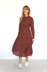 The AW Skater Dress - Maroon Animal