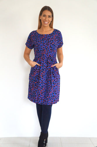 The Classic - Blue, Hot Pink Animal Print