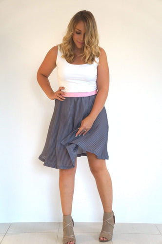 The Rosie Midi Skirt - Plated Grey - Ice Pink Waist Band