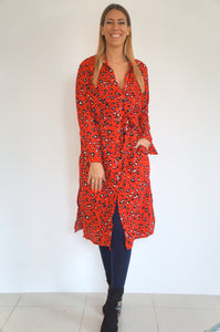 The Midi Shirt Dress - Red Animal
