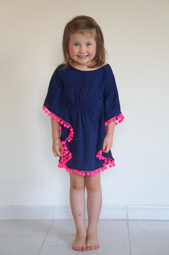 The Little Beach Kaftan - Navy Blue with pom-poms