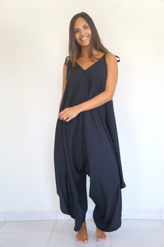 The Harem Jumpsuit - Black Light Fabric