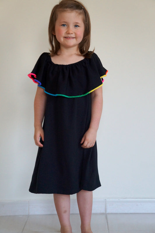 The Little Ruffle Dress - Black with Mini Pom-Poms