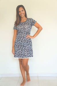 The Mini Anywhere Dress - Black & Grey Tiger Limited Edition Print (Stretch Fabric)