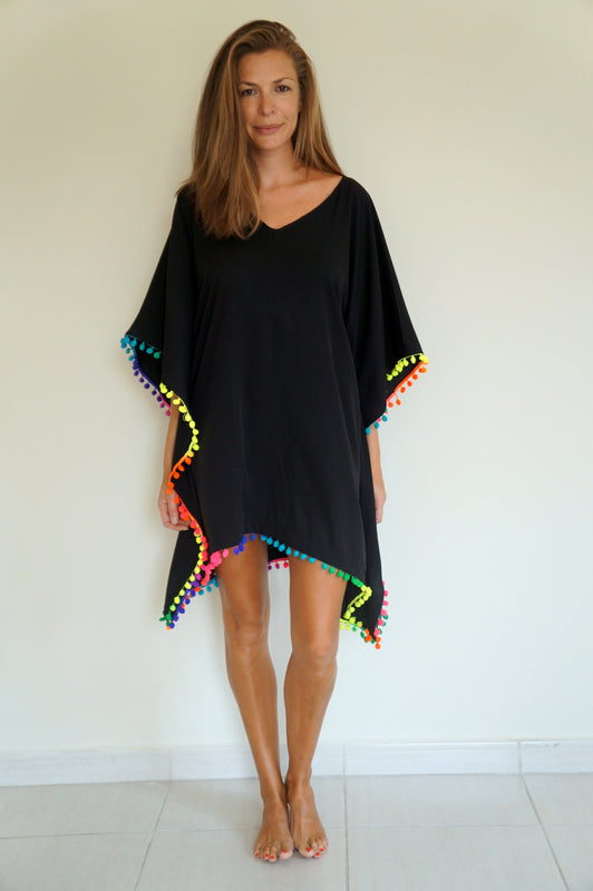 Beach Kaftan - Black with neon rainbow pom-poms