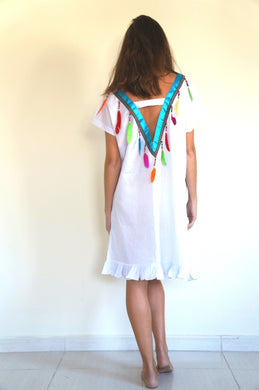 Deep V Feather Back - Beach Kaftan