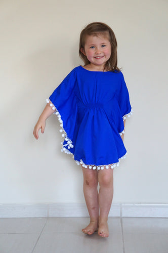 The Little Beach Kaftan - Royal Blue with pom-poms
