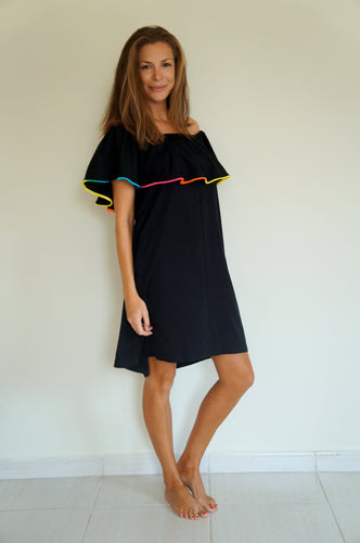Ruffle 'Bardot Syle' Dress - Black