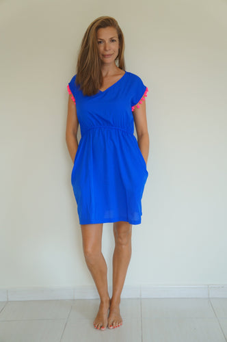 Elastic Tank Dress - Royal Blue