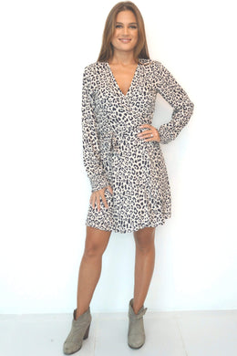 The Wrap Dress - Nude Black Animal