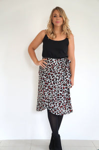 The Ruffle Wrap Skirt - Grey & Maroon Animal Print - Standard Length