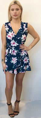 The Sleeveless Flirty Wrap Dress - Navy Pink Lily