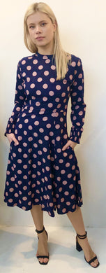 The AW Skater Dress - Navy Pink Polka Dot