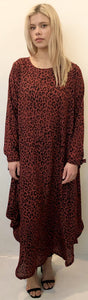 The Oversized Dress - Maroon Animal