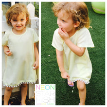Girls' Anywhere Dress - White with various colour pom-poms