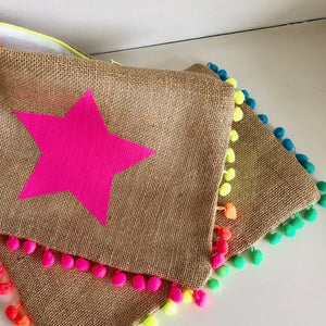 Pom-Pom Star Clutch Bag - Large or Small Star