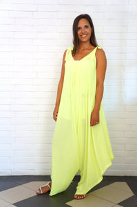 The Harem Jumpsuit - Neon Yellow