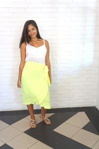 The Ruffle Wrap Skirt - Neon Yellow