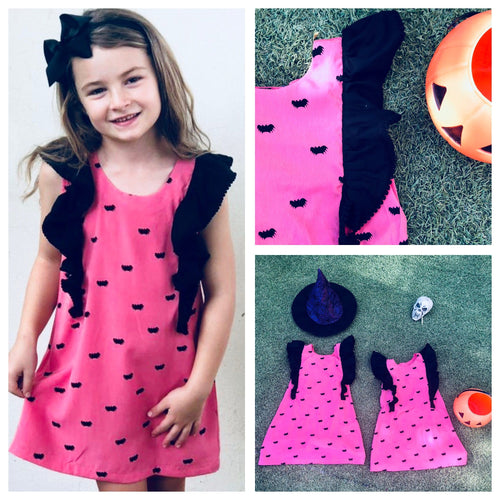 The Fifi Ruffle Dress - Halloween Dusty Pink Bats Print