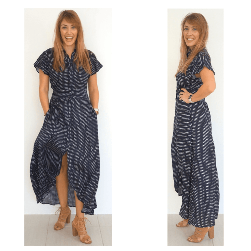 The Fitted Shirt Dress - Navy Blue, Mini White Polka Dot