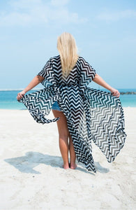 The Long Beach Kimono - Black & White Painted Chevron