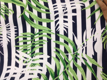 Mask - Black & White Stripe Leaf Print