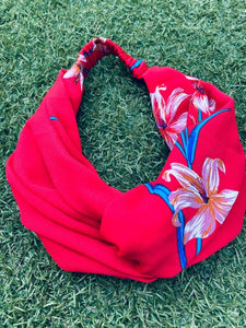 Head Bands - Hand Made - Red Tropical