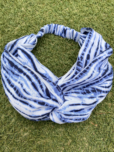 Head Bands - Hand Made - Blue & White Tie Dye