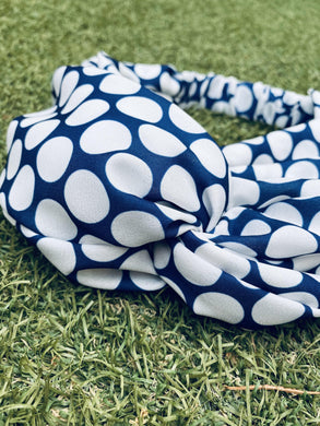 Head Bands - Hand Made - Navy medium white spot print