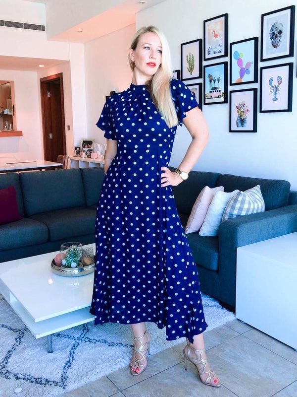 The High Neck Maxi Dress - Navy blue, ice blue polka dot