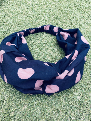 Head Bands - Hand Made - Navy, Blush Pink Spot