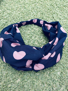Head Bands - Hand Made - Navy, blush pink spot print