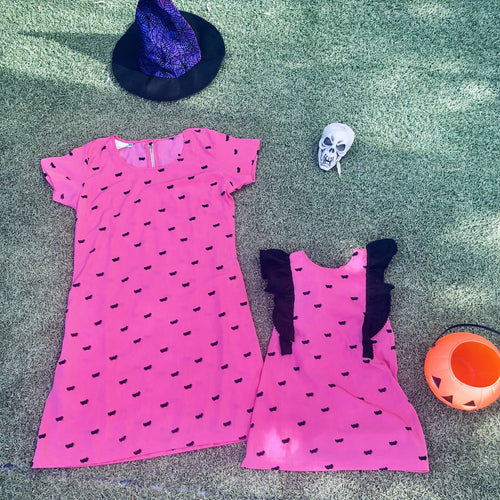 The Mini Anywhere Dress - Halloween Dusty Pink Bats Print