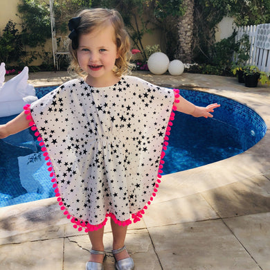 The Little Beach Kaftan - White star print