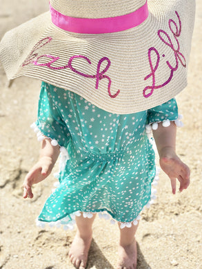 The Little Beach Kaftan - Aqua with white stars